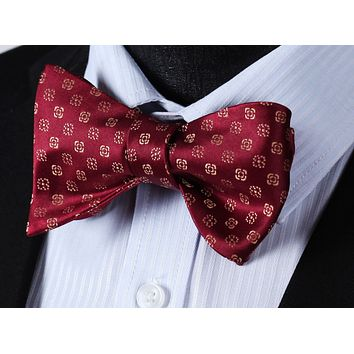 Burgundy Gold Floral Self-Tie BowTie Pocket Square