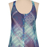 Lattice Racerback Scarf Print Chiffon Tank - Blue