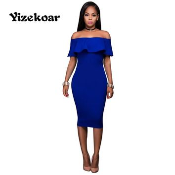 Yizekoar 2017 Summer Women Sexy Fashion Blue Slash Neck Ruffles off the shoulder Bodycon Casual Midi Dress Vestidos OS6004