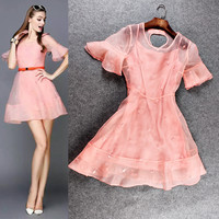 Casual Pink Mesh Flounce Sleeve Mini Dress With Leave Beads