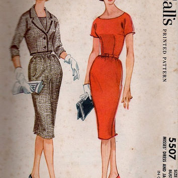 Mad Men Retro Fashion McCall's Sewing Pattern Sheath Wiggle Dress Straight Skirt Fitted Bodice Bolero Jacket Scoop Neck Secretary Style