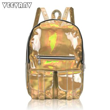 2017 VEEVANV Women Backpack Female School Backpack Waterproof Travel Bag Shoulder Bag Designer Laser Sparkling Backpack for Girl