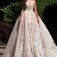 [238.99] Fabulous Tulle & Organza Bateau Neckline See-through A-Line Wedding Dresses With Lace Appliques - dressilyme.com