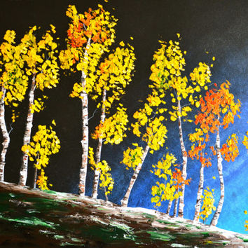 Midnight at the Concert, Aspen Trees, Birch Trees Original Oil Painting