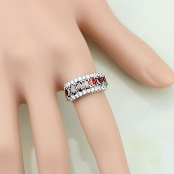 Magnificent Red Garnet White CZ 925 Sterling Silver Ring