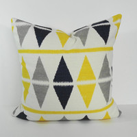 Decorative Pillow Cover, Yellow, Grey, Navy Blue Geometric Pillow Cushion, Throw Pillow, 18 x 18