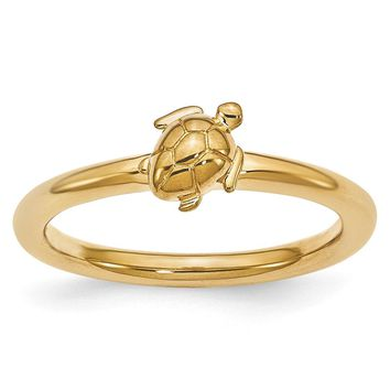 Gold Tone Plated Sterling Silver Stackable 8mm Sea Turtle Ring