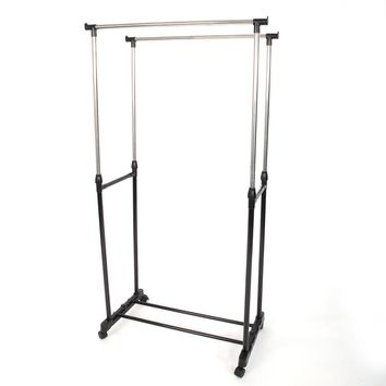 Dual-bar Vertical & Horizontal Stretching Stand Clothes Rack with Shoe Shelf YJ-03 Black & Silver