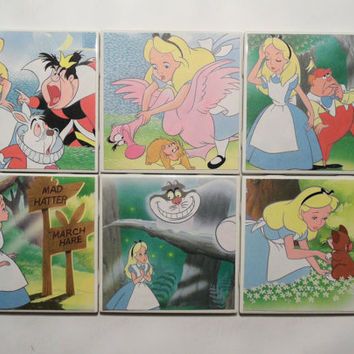 Alice in Wonderland Upcycled Book Pages Ceramic Coasters - set of 6