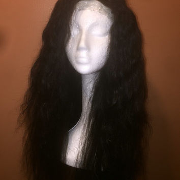 "22"" Brazilian Straight 100% Virgin Top Grade Human Hair Wig w/ Realistic Lace"