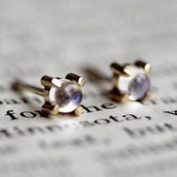 14K Moonstone Studs, Moonstone Jewelry, Moonstone Earrings, Minimal Jewelry, Tiny Studs, Prong Earrings, Post Studs