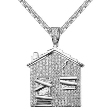 Men's Hip Hop White Trap House Iced Out Custom Necklace