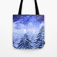 pine forest under galaxy Tote Bag by Color And Color