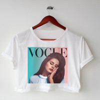 Vogue Lana del ray printed Midriff Cropped Blouse. Street-Style Fashion - teenage - crop - Teen Girl - Casual wear