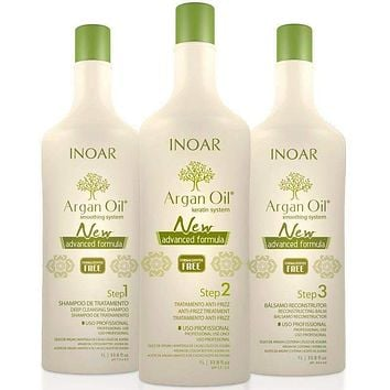 INOAR ARGAN SYSTEM KERATIN HAIR COMBO 3 X 1000ml (33.8 fl.oz).