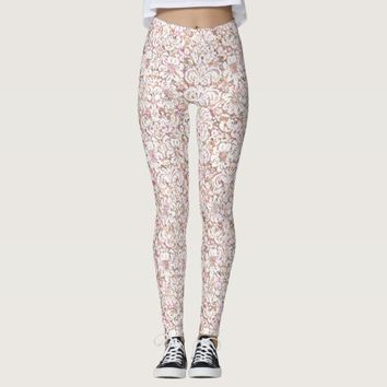 Cute pink white vintage floral design leggings