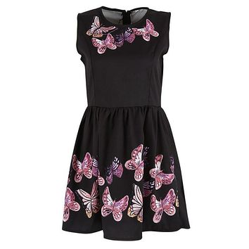 Women Casual Sexy Sleeveless Dress Butterfly Print Evening Party Dress Clubwear WD02