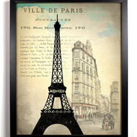 Paris France Eiffel Tower Ephemera Antique Illustration  8 x 10 Giclee Art Print Upcycled Collage Recycled Book Art Buy 2 Get 1 FREE