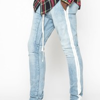 PacSun Drop Skinny White Stripe Indigo Pants at PacSun.com