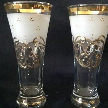Czech bohemia crystal glass - 2pc Cut Bier, water glasses 18cm decorated gold