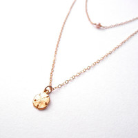Layered Ocean Breeze Necklace - Sand Dollar Charm & Peach Pearl