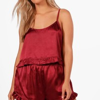 Plus Sadie Satin Ruffle Hem Cami + Short Set | Boohoo