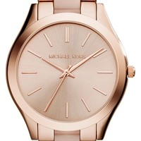 Women's Michael Kors 'Slim Runway' Bracelet Watch, 42mm - Rose Gold/ Blush