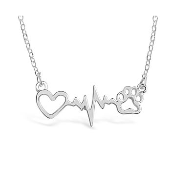 Dog Paw Print With Heartbeat Necklace For Women