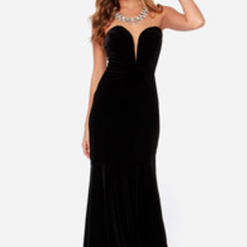 Rubber Ducky Bold at Heart Strapless Black Velvet Maxi Dress