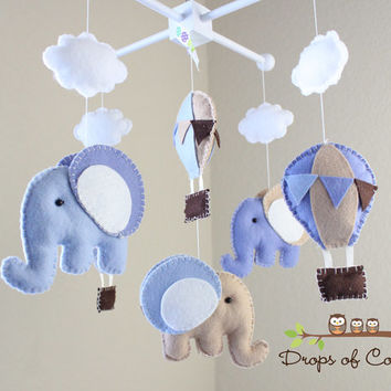 """Baby Mobile - Baby Crib Mobile - Hot Air Balloons and Elephants Mobile """"Up in the Air"""" (You Can Pick your Colors and Animals)"""