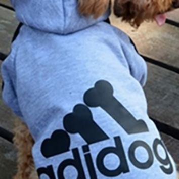Heathered Blue Black Adidas Adidog Hooded Bone Logo Fleece Winter Dog Coat