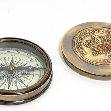 Makers to the Queen Compass w leather case Hancrafted Nautical Decor