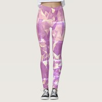Distressed Look Pink Crystal Leggings