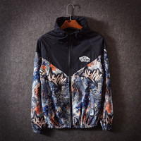 """VANS""Couple Unisex Multicolor Pattern Print Zip Hooded Cardigan Jacket Rash Guards"