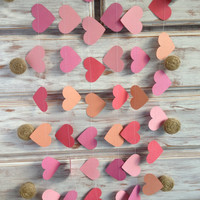3 Metres Tropical Collection Coral Crush Pink Large Heart Garland Shabby Chic beach wedding decoration, girl baby shower decoration