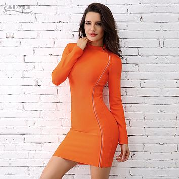 Adyce New Bandage Dress 2018 Chic Celebrity Party Dress Elegant Orange Turtleneck Side Zipper Long Sleeve Clubwear Runway Dress