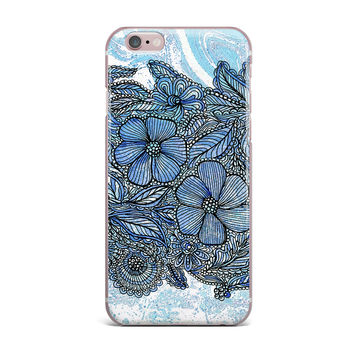 "Julia Grifol ""Blue Flowers In My Garden"" Aqua Navy iPhone Case"