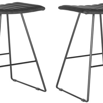 Set of Two Akito Counter Stools in Black design by Safavieh