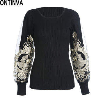 Embroidery Golden Pullover Women Autumn 2016 Lantern Long Sleeve Womens Jumpers Slim Sweaters Black Sweater