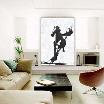 large abstract Painting on canvas, handmade horse running Painting, Abstract Canvas art, Abstract painting Canvas Art, Black and White