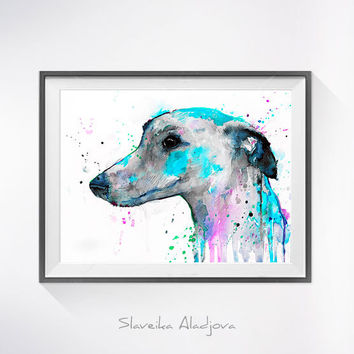 Greyhound watercolor painting print, Greyhound art, animal illustration, animal watercolor, animal portrait, dog art, dog print