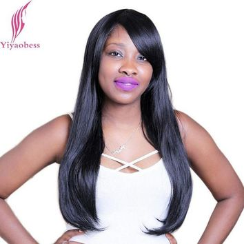 LMFOK5 Yiyaobess 60cm 1B Straight Long Black Wig With Bangs Heat Resistant Synthetic Natural Hair Wigs For African American Women