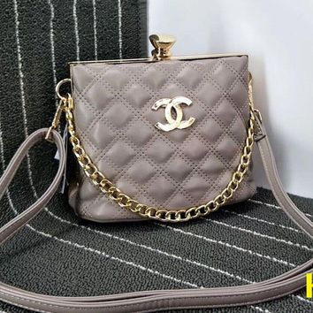 Chanel Diamond Lock Metal Chain Pu Chain Shoulder Women Shopping Bag B-OM-NBPF Grey