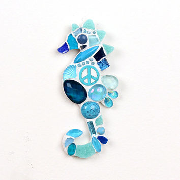 Mosaic Blue Sea Horse Wall Decor, Beach Themed Decor