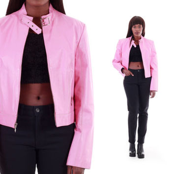 Pink Leather Jacket Bubblegum Barbie Bright Pink Moto Jacket 80s 90s Vintage Clothing Womens Size Small