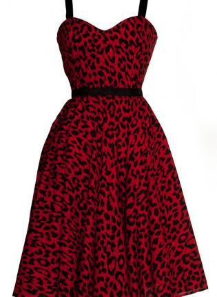 Plus size Red Leopard Print Full Circle Rockabilly Swing 50s