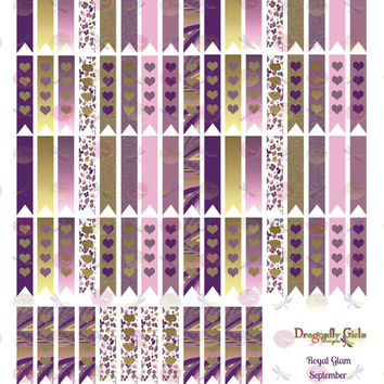 50% OFF Sale! DIY September Printable Planner 80 Long Flags Stickers PDF and jpeg Erin Condren Life Planner Kikkik Filofax