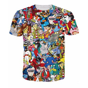 90's Cartoon Collage All-Over Print Sublimated Multi-Color T-Shirt