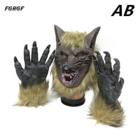 FGHGF Scary Masks Wolf Head Shaped Masquerade Mask with Two gloves Full Face Mask Ghost Mask for Halloween festivals