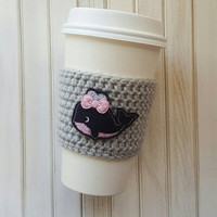 Whale Coffee Cozy with Polka Dot Bow